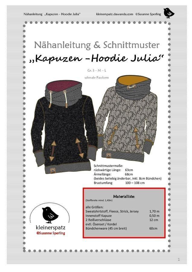 Nähanleitung und Schnittmuster Hoodie mit Kapuze & # 39; Julia & # 39;   – Nähen +Anleitungen