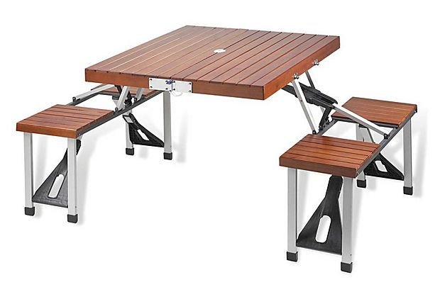 Someone is more than welcome to get this for Stephanie for xmas!! So cool! Portable Picnic Table Set, Brown on OneKingsLane.com