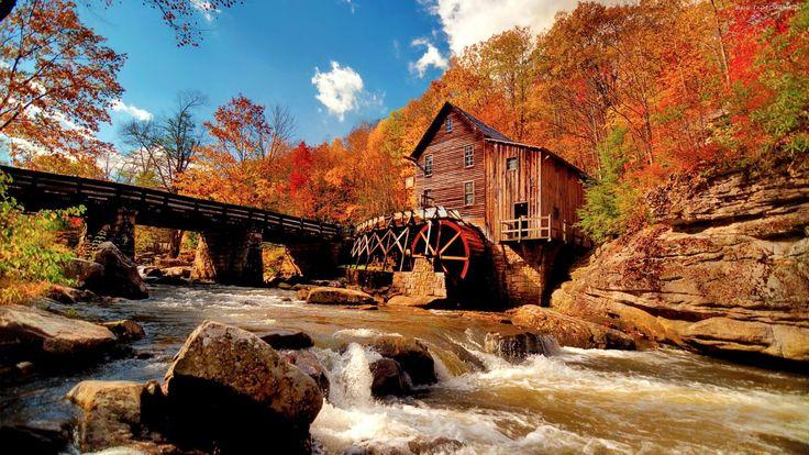 Młyn, Rzeka, Las, Jesień
