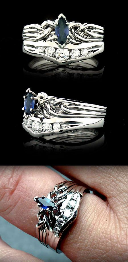 puzzle wedding rings marquise sapphire puzzle engagement ring with channel set 6927