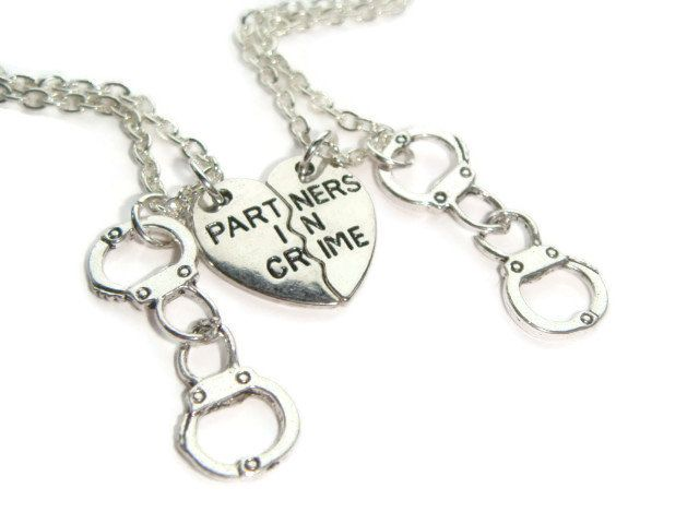 2 Partner In Crime Necklaces Best Friends Necklace Set Split Heart Necklaces Friendship Jewelry Handcuff Jewellery Gift For Sisters (13.50 GBP) by BellaAniela