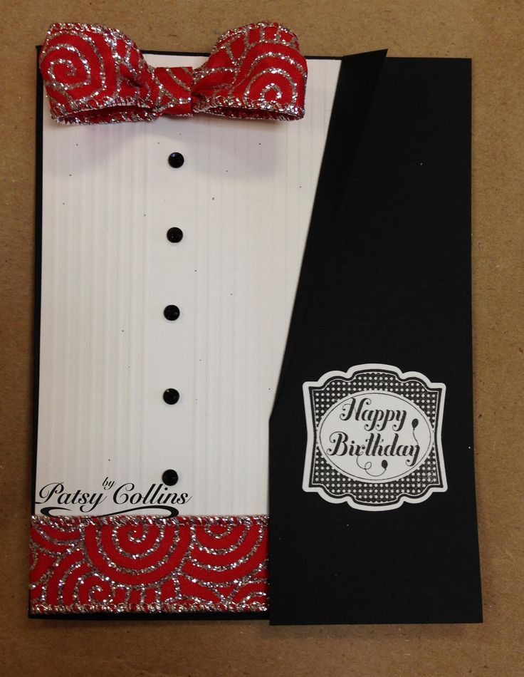 By Patsy Collins. Variation on Suit and Vest Card. Cummerbund instead of a vest.