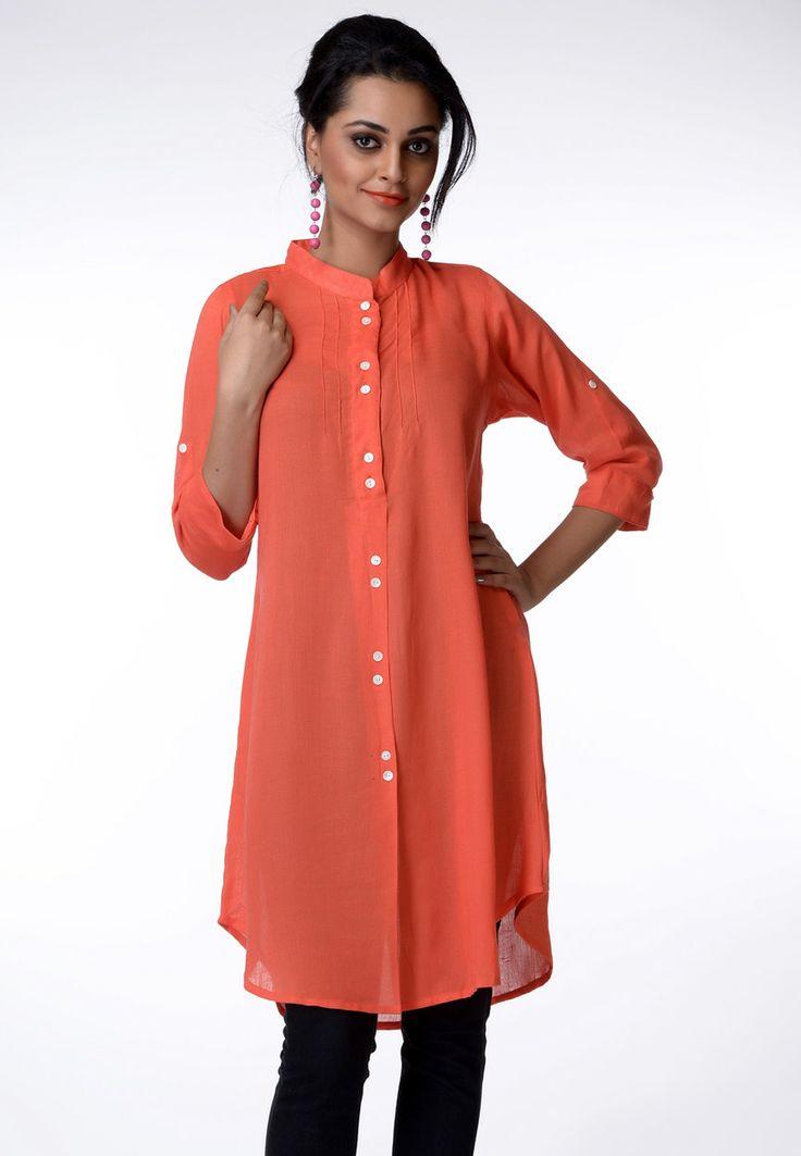 Peach Cotton Tunic Online Shopping: TKB41