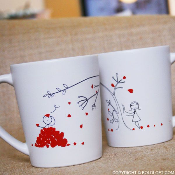 "BoldLoft ""Love You Madly"" His and Hers Couple Coffee Mugs-These delightful his and hers coffee mugs don't let you forget the deliciously disorienting feeling of love taking over. Perfect gifts for anniversary, Valentine's Day, Christmas, wedding, and birthday."