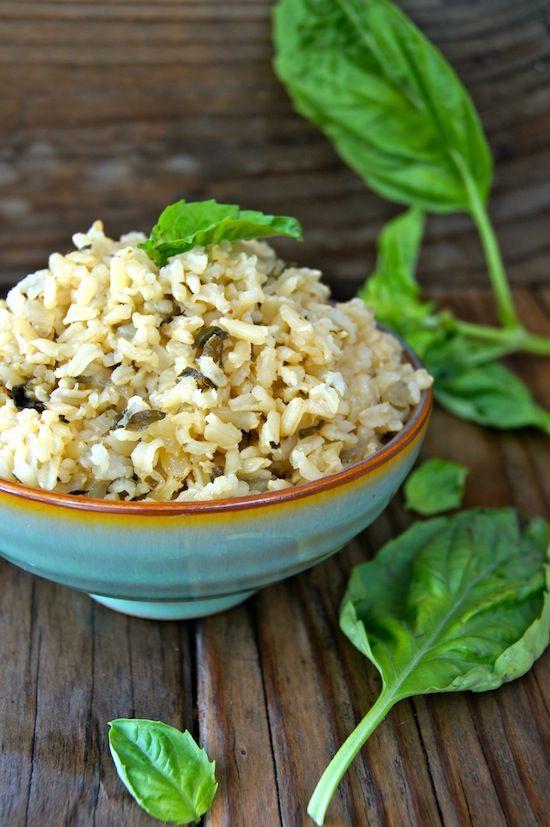 Roasted Garlic-Basil Brown Rice Recipe | Vegan if made with vegetable stock