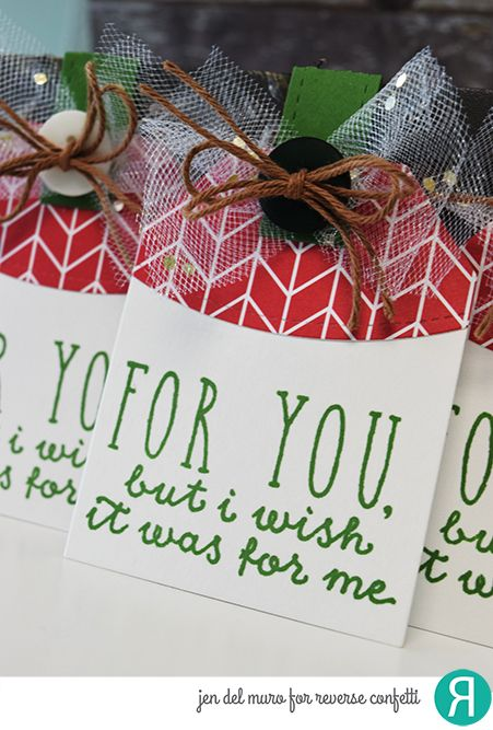 DIY Christmas gift tags by Jen del Muro. Reverse Confetti stamp set: Naughty or Nice. Confetti Cuts: Topped Off Tag and Top 'O the Tag. RC 6x6 Paper pad: Very Merry. Holiday Tags.