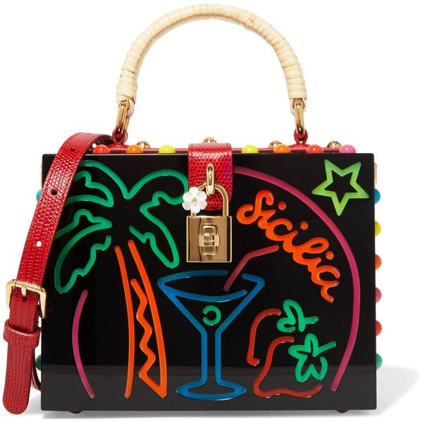 Dolce & Gabbana Dolce textured leather-trimmed embellished Perspex... (362,120 INR) ❤ liked on Polyvore featuring bags, handbags, clutches, top handle purse, woven purse, colorful clutches, studded clutches and evening handbags