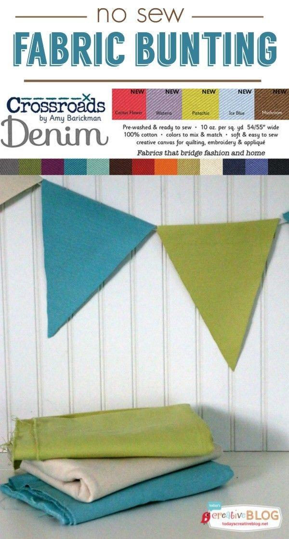 Easy No Sew Fabric Bunting | TodaysCreativeBlog.net