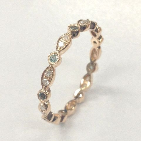 279 green alexandrite diamond wedding bandfor women eternity anniversary ring14k rose gold - Alexandrite Wedding Ring