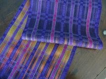 Fall Sunset Cotton and Tencel Scarf – Purple Weft/ Handwoven