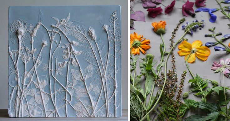 Rachel Dein (previously) chooses to immortalize plants that might otherwise wither away shortly after their appearance in the spring. Dein places theses flowers, vegetables, and foliage in arrangements within clay, making an impression of the plants before applying a layer of plaster. Once hardened,
