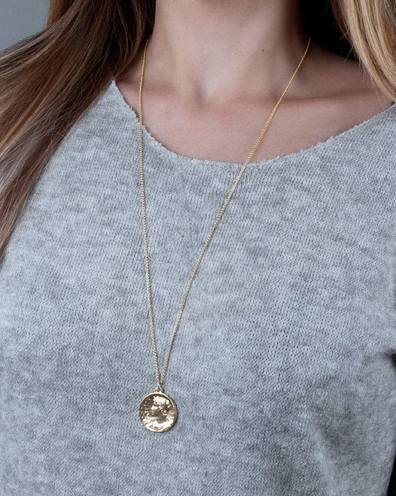 Silver Coin Necklace Coin Jewelry Long Coin Necklace by Tooliks