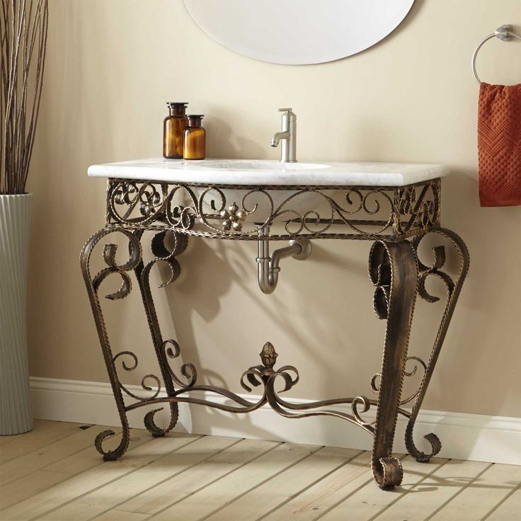 "Vanna Wrought Iron Console Vanity with Recessed Marble Sink Top - 8"" Centers"