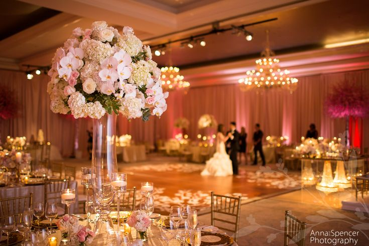 Bride And Groom Practicing Their First Dance In The St Regis Atlanta Ballroom Pink White Wedding By Briangreen Planner