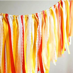 Sunflower Yellow Party Banner, Decoration, Wedding Garland, Banner, Decoration, Ribbon, Fabric Garland, Bridal Shower, Baby Shower