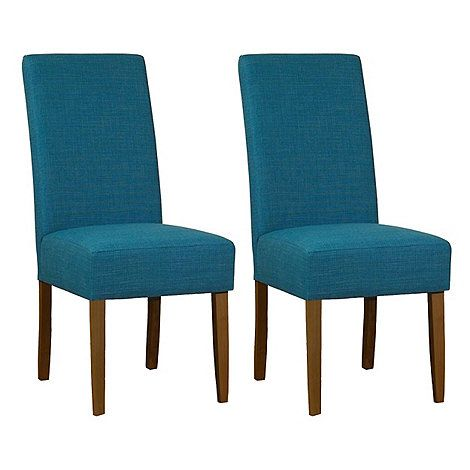 Debenhams Pair of teal blue fabric 'Parsons' dining chairs with dark wood legs | Debenhams