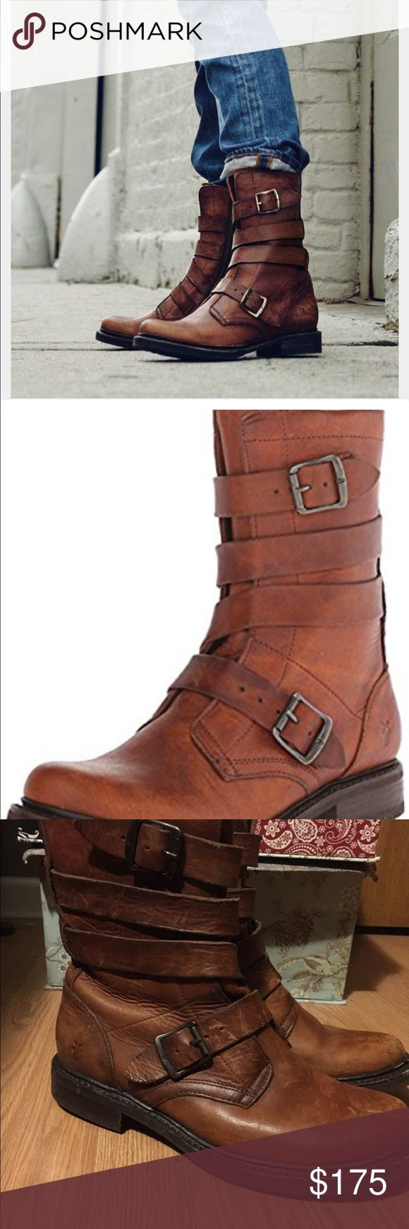 Frye Veronica Tanker Boots Perfect for a boho look the sole is sturdy. Offers a lot of support. Boot shows signs of light wear with scratches. Nothing that can't be buffered out. Would be willing to take them to get buffered and polished for extra. Please just message me and let me know. Frye Shoes Combat & Moto Boots
