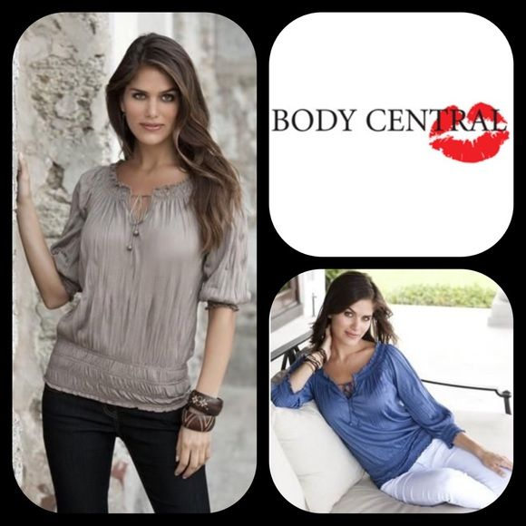 BUY2GET1FREEBody Central Crinkled Peasant Top New without tags. 65% Polyester 35% Rayon. Body central is no longer available in stores or online. This is a v neck open shoulder top. Both strings with blue beads, very sleek look, sleeves. Body Central Tops Tees - Short Sleeve