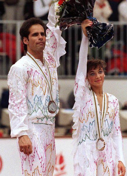 Canada's Lloyd Eisler and Isabelle Brasseur, bronze medal win, 1992 Albertville Olympic winter games.