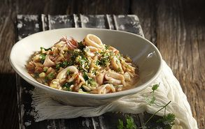 Calamari and Spinach Orzo in an Aromatic Gremolata!