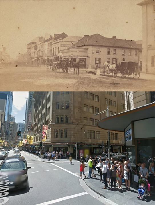 The corner of George and Market Streets, Sydney in the 1870's and 2014. The 1870's photo shows the Crown & Anchor Hotel on the north east corner.
