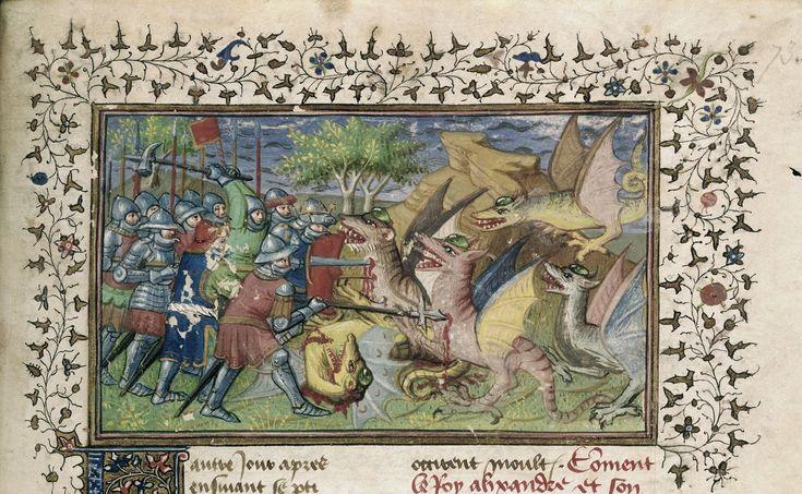 Battle against dragons   Historia de proelis in a French translation (Le Livre et le vraye hystoire du bon roy Alixandre)   France, Central (Paris)   c. 1420