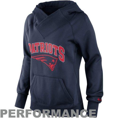 Nike New England Patriots Ladies Wildcard Pullover Performance Hoodie - Navy Blue