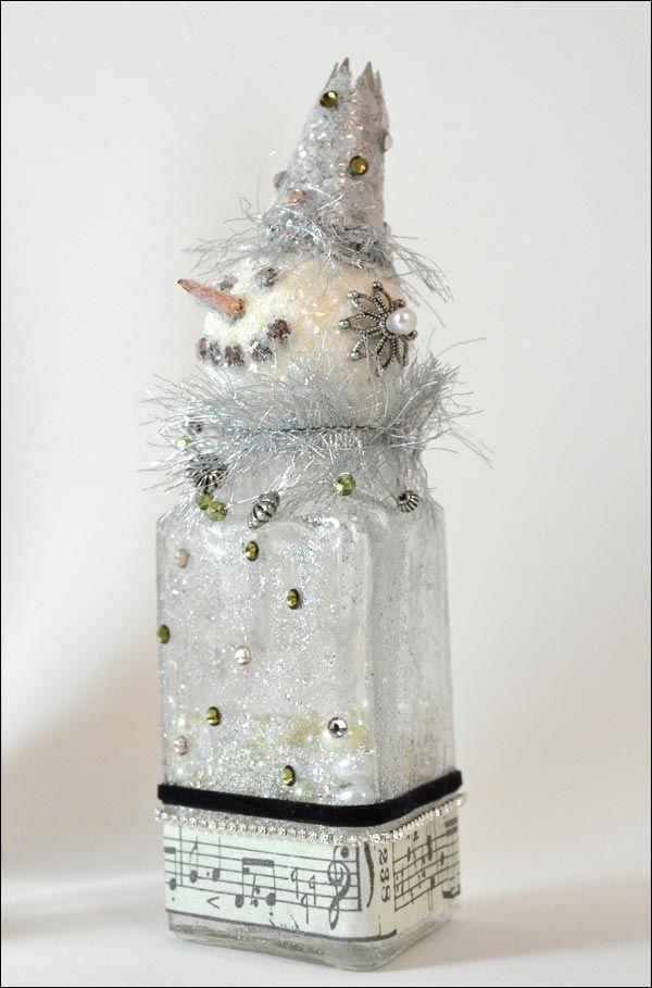 Glass Snowman Jar
