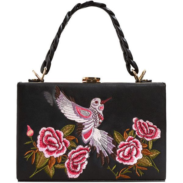 Embroidered Coffer Bag (£50) ❤ liked on Polyvore featuring bags, handbags, white handbags, embroidery purse, embroidered bag, long purse and mango purse