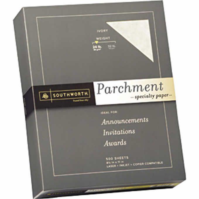 Southworth Parchment Specialty Paper Letter Linen Finish Ivory 24lb 500ct SOU 984C