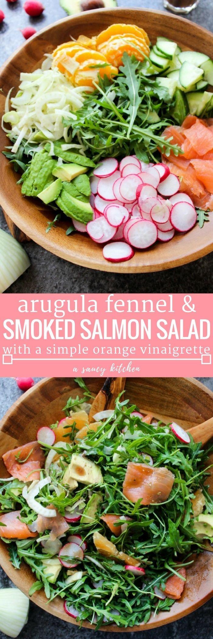 Arugula Fennel & Smoked Salmon Salad with radish, cucumber, oranges, and avocado topped in a simple orange vinaigrette | Paleo + Gluten Free