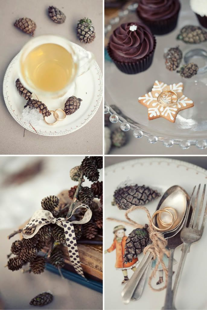 Pinecones and old books as decor options- diy, inexpensive, completely unique and easy to dress up with some glitter and strategically placed candles. (Plus I have the books and about 20 trees in my parents yard I could get all the pinecones from)