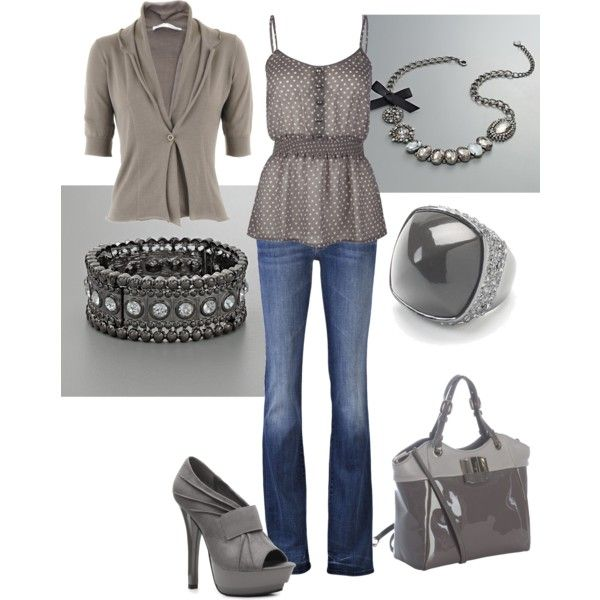 Gray & Polka Dots!, created by #amyjoyful1 on #polyvore. #fashion #style FABIANA FILIPPI MOTHER DENIM: Gray Outfit, Matching Cardigans, Polka Dots, Gray Polka, Fashion Styles, Grey Outfit, Dots Cami, Necklaces, Cute Outfit