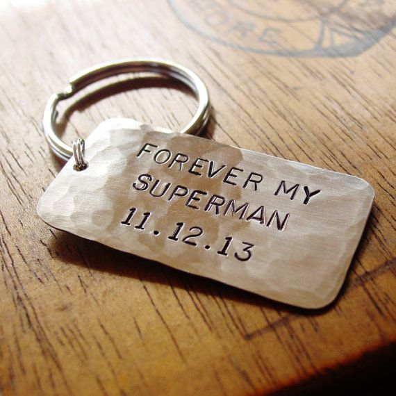 Superman Key Chain, Personalized Date, Hand Stamped Silver, Superhero, Husband Gift, Mens Key Chain, Forever My Superman, Man of Steel