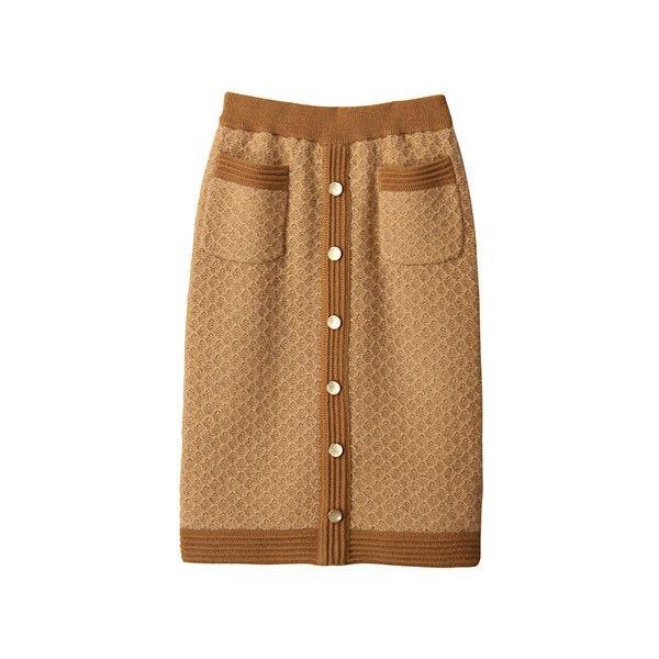 【ELLE SHOP】ネップニットスカートキャメル|マリリンムーン(MARILYN MOON)|ファッション通販 エル・ショップ ($145) ❤ liked on Polyvore featuring skirts, bottoms и brown skirt