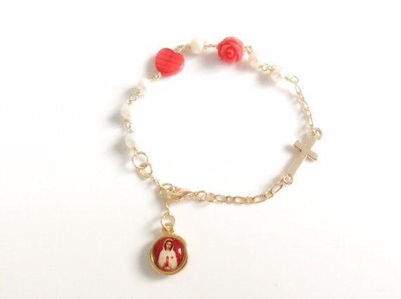 Mary Mystical Rose Rosary Bracelet catholic medal Holy Mary medal bracelet Catholic Jewelry Religious Gifts, catholic rosary Rosa Mistica