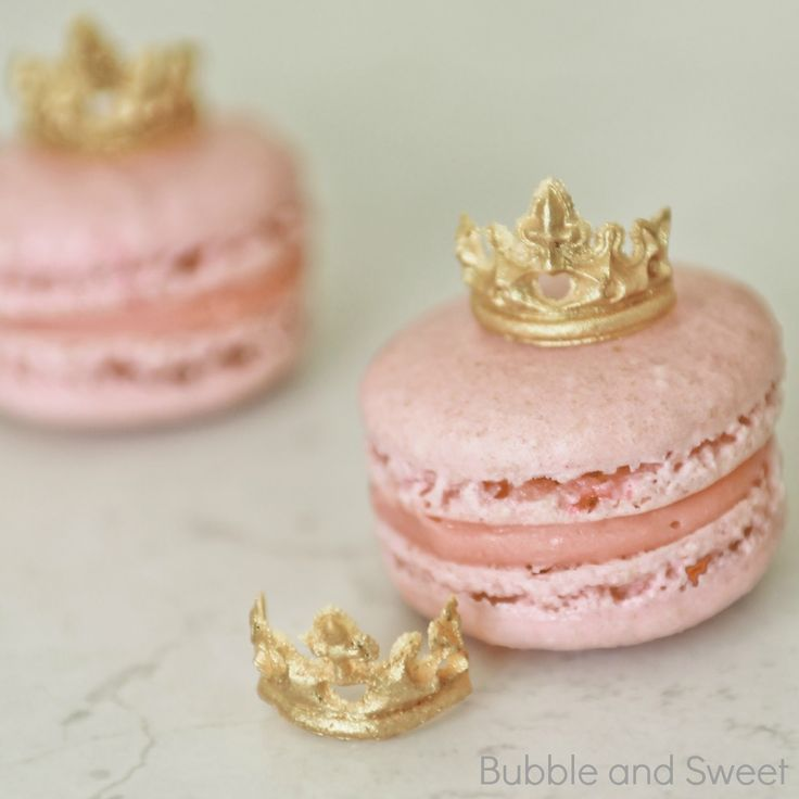 CLICK HERE for link to my macaron recipe    Ok these are my new favorite toppers.   Mini edible tiaras, seriously what's not to love, a...