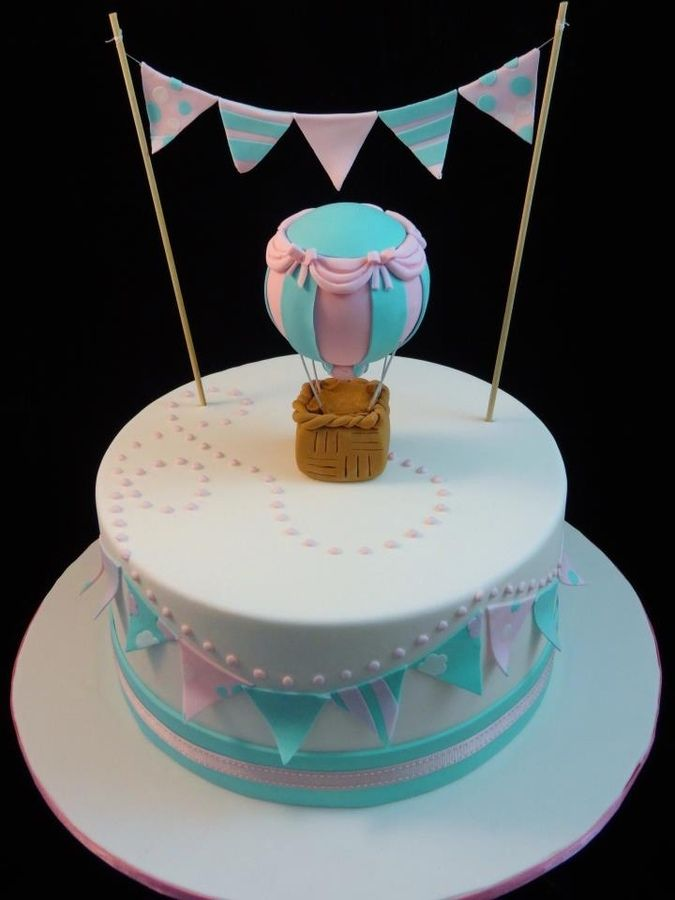 hot air balloon baby shower cake | balloon and bunting cake balloon is styrofoam…