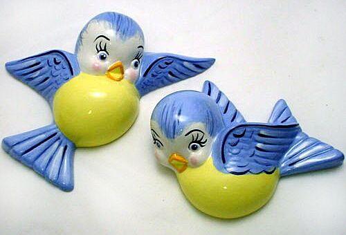 Vintage chalkware bluebirds