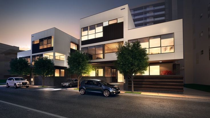 Streetscape of the Victoria Harbour Townhouses on Geographe Street.