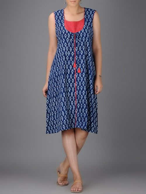 Indigo-White Block-printed Dress with Bright coloured Yoke Patch and Piping