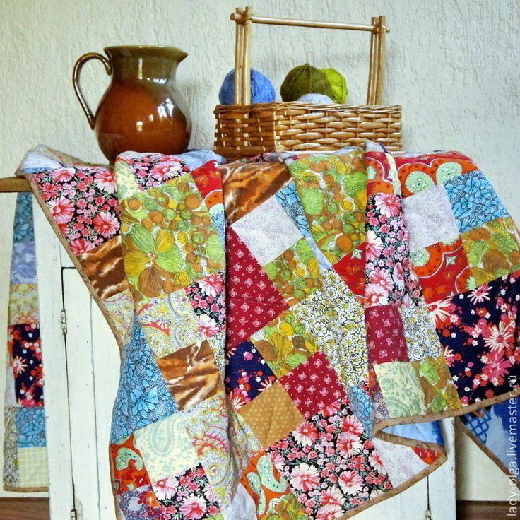 Купить Лоскутное одеяло покрывало Яркие Воспоминания подарок женщине - лоскутное одеяло, лоскутное покрывало