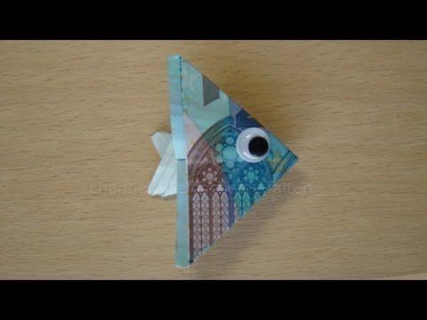 Geldschein falten: Fisch - Geld falten zum Geldgeschenke basteln Hochzeit - YouTube