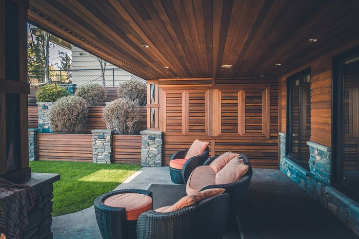 Nice view from this outdoor room with Red Balau Batu supplied by Kayu Canada Inc.