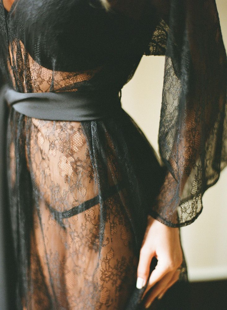"""sheer lace robe. """"a robe is the curtain before the show"""" or perhaps part of the show."""
