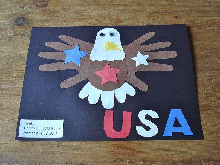 Handprint bald eagle patriotic craft - for you, Aunt Eve! :)