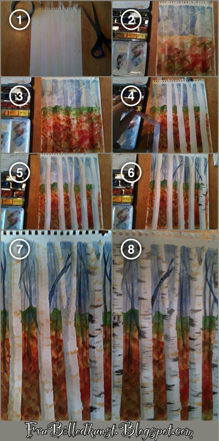 tree line watercolor tutorial