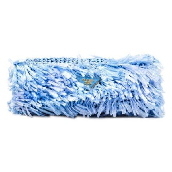Pre-Owned Prada Blue Rectangular Raffia Grass Clutch ($285) ❤ liked on Polyvore featuring bags, handbags, clutches, blue, preowned handbags, prada clutches, pre owned purses, prada purses and blue handbags
