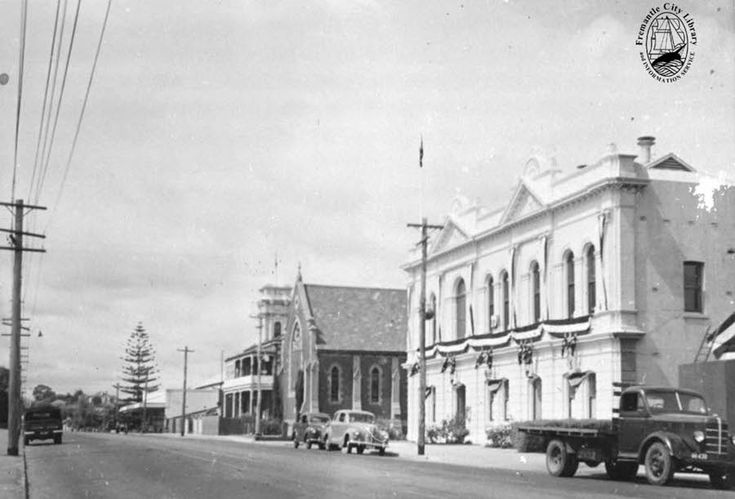 East Fremantle Town Hall and St Peter's Church  Canning Highway, 1954