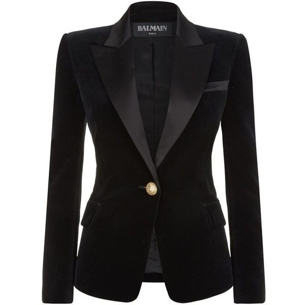 Balmain Velvet Satin Lapel Blazer (52 130 UAH) ❤ liked on Polyvore featuring outerwear, jackets, blazers, black velvet blazer, velvet blazer, balmain, balmain blazer and evening jackets